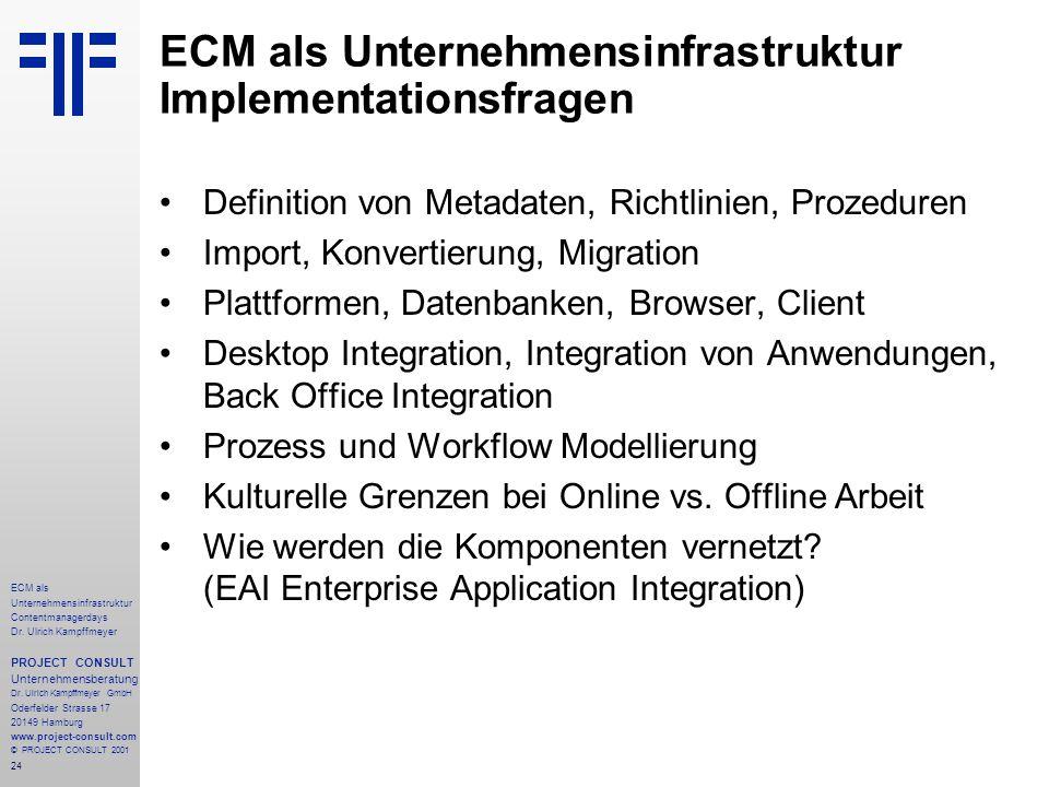 24 ECM als Unternehmensinfrastruktur Contentmanagerdays Dr. Ulrich Kampffmeyer PROJECT CONSULT Unternehmensberatung Dr. Ulrich Kampffmeyer GmbH Oderfe