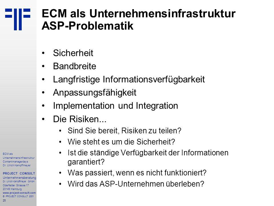 25 ECM als Unternehmensinfrastruktur Contentmanagerdays Dr. Ulrich Kampffmeyer PROJECT CONSULT Unternehmensberatung Dr. Ulrich Kampffmeyer GmbH Oderfe