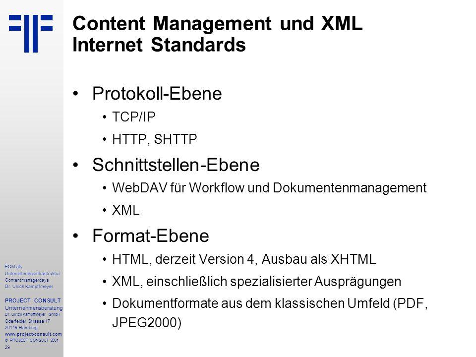 29 ECM als Unternehmensinfrastruktur Contentmanagerdays Dr. Ulrich Kampffmeyer PROJECT CONSULT Unternehmensberatung Dr. Ulrich Kampffmeyer GmbH Oderfe