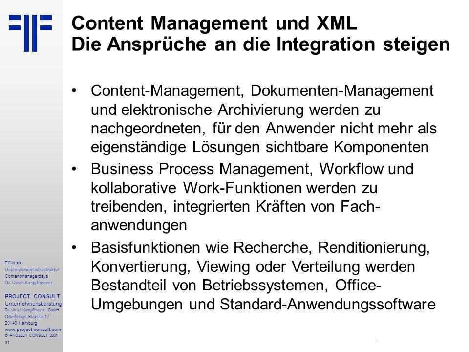 31 ECM als Unternehmensinfrastruktur Contentmanagerdays Dr. Ulrich Kampffmeyer PROJECT CONSULT Unternehmensberatung Dr. Ulrich Kampffmeyer GmbH Oderfe