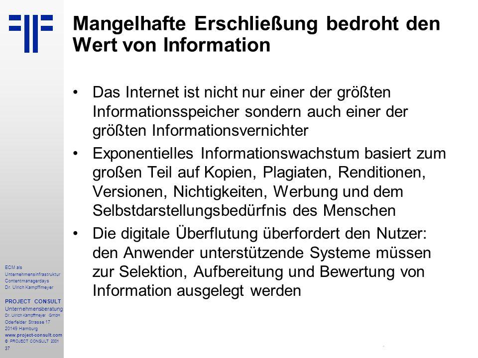 37 ECM als Unternehmensinfrastruktur Contentmanagerdays Dr. Ulrich Kampffmeyer PROJECT CONSULT Unternehmensberatung Dr. Ulrich Kampffmeyer GmbH Oderfe