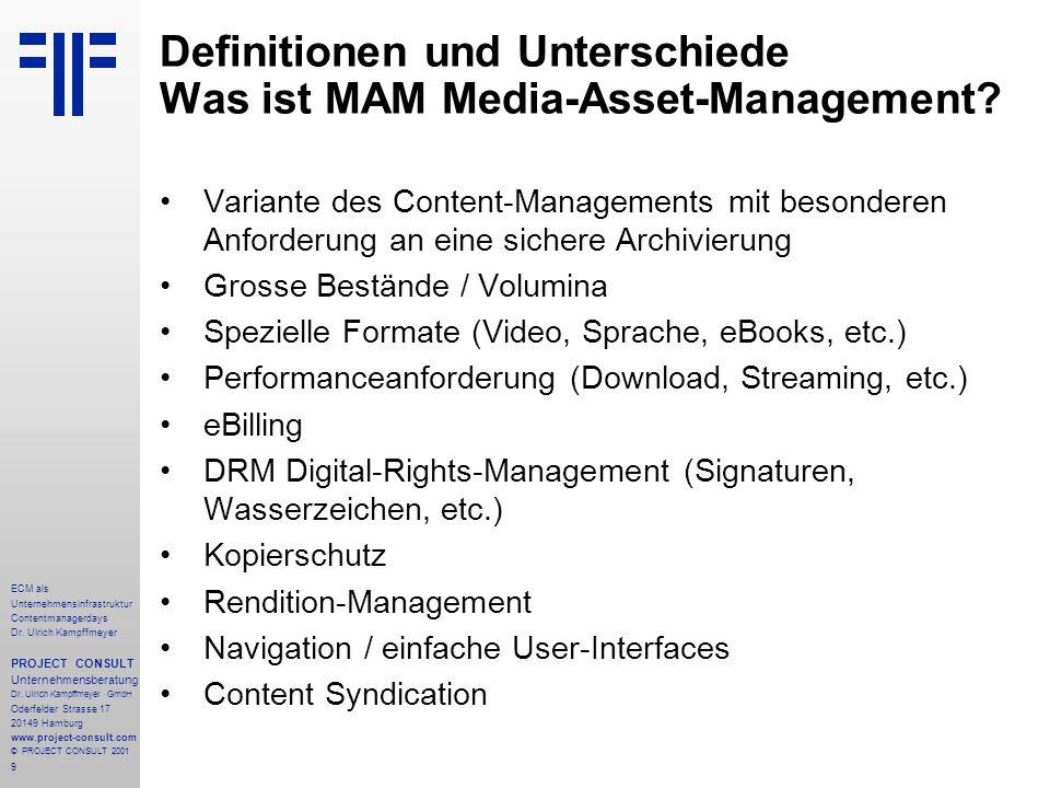 9 ECM als Unternehmensinfrastruktur Contentmanagerdays Dr. Ulrich Kampffmeyer PROJECT CONSULT Unternehmensberatung Dr. Ulrich Kampffmeyer GmbH Oderfel