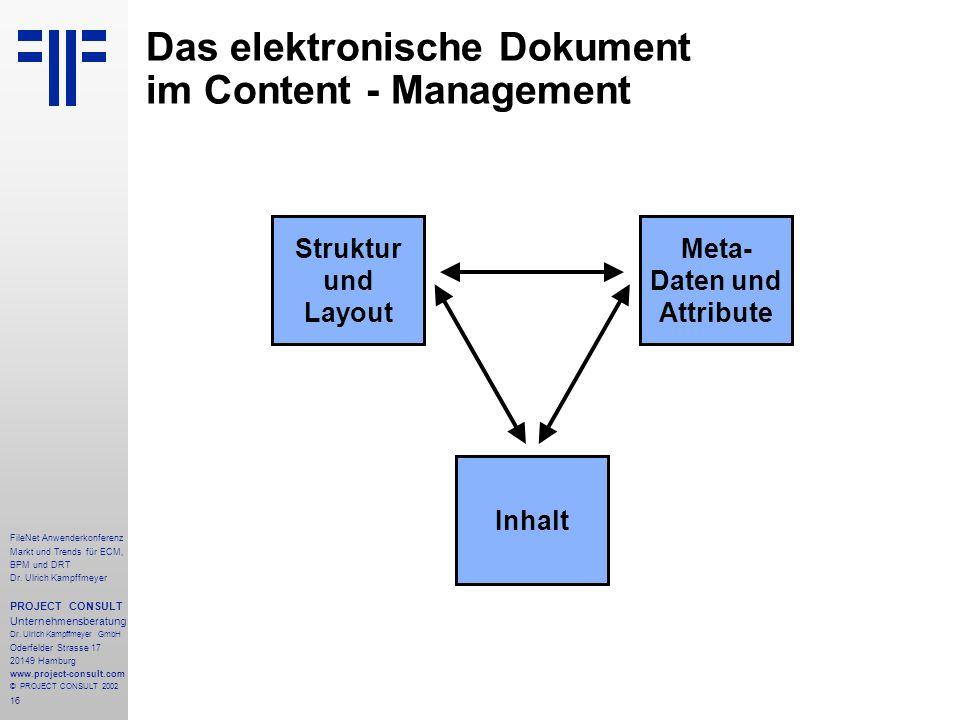 16 FileNet Anwenderkonferenz Markt und Trends für ECM, BPM und DRT Dr.