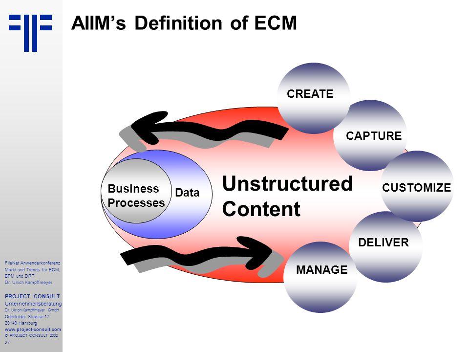 27 FileNet Anwenderkonferenz Markt und Trends für ECM, BPM und DRT Dr.
