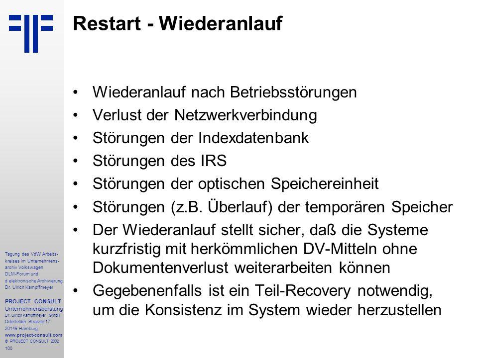 100 Tagung des VdW Arbeits- kreises im Unternehmens- archiv Volkswagen DLM-Forum und d elektronische Archivierung Dr.