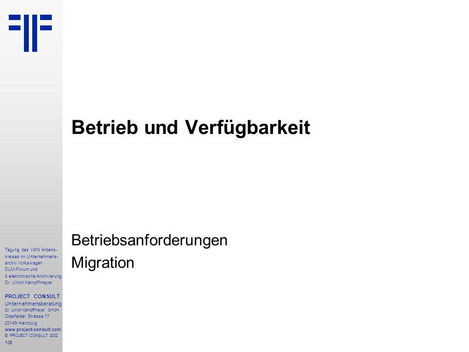 106 Tagung des VdW Arbeits- kreises im Unternehmens- archiv Volkswagen DLM-Forum und d elektronische Archivierung Dr.