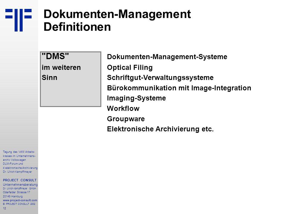 12 Tagung des VdW Arbeits- kreises im Unternehmens- archiv Volkswagen DLM-Forum und d elektronische Archivierung Dr.
