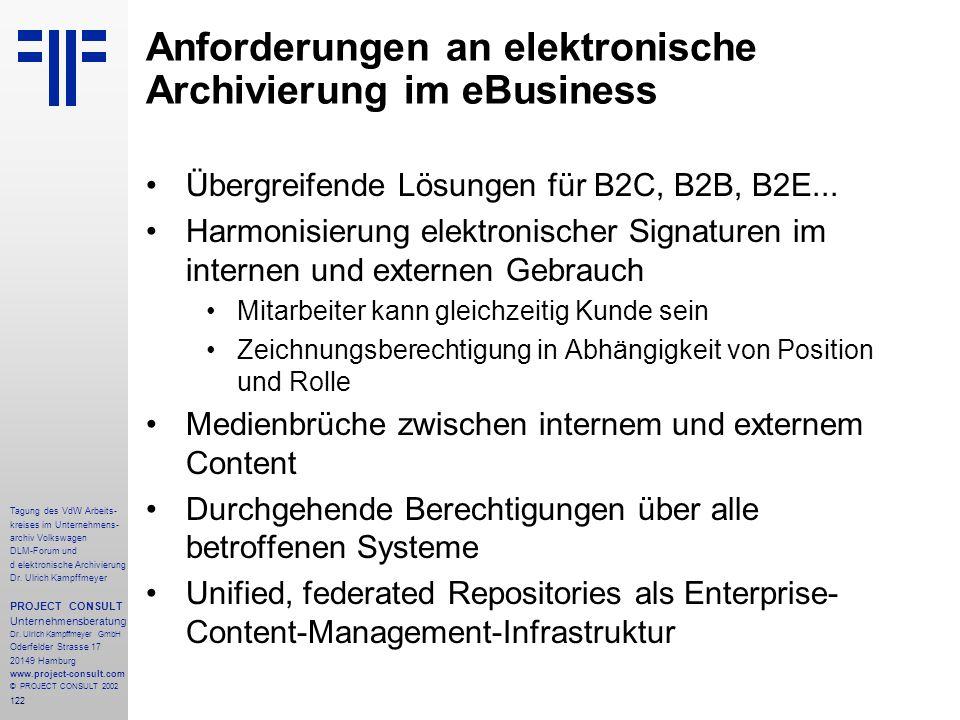 122 Tagung des VdW Arbeits- kreises im Unternehmens- archiv Volkswagen DLM-Forum und d elektronische Archivierung Dr.