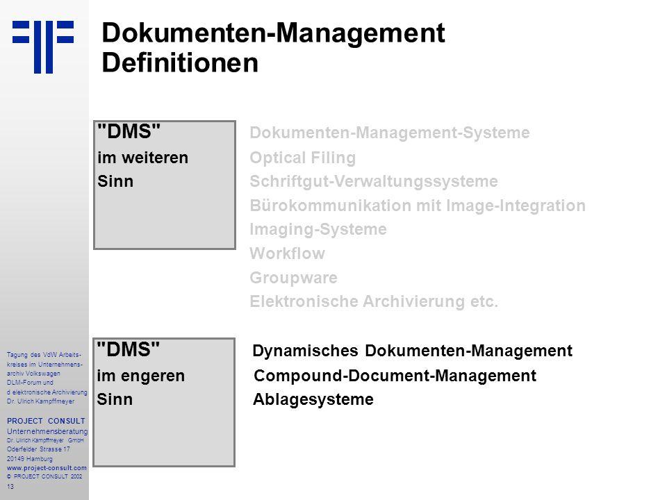 13 Tagung des VdW Arbeits- kreises im Unternehmens- archiv Volkswagen DLM-Forum und d elektronische Archivierung Dr.