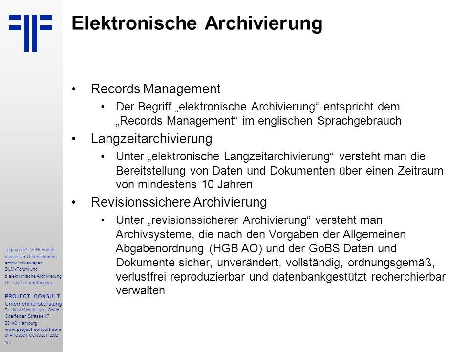 15 Tagung des VdW Arbeits- kreises im Unternehmens- archiv Volkswagen DLM-Forum und d elektronische Archivierung Dr.