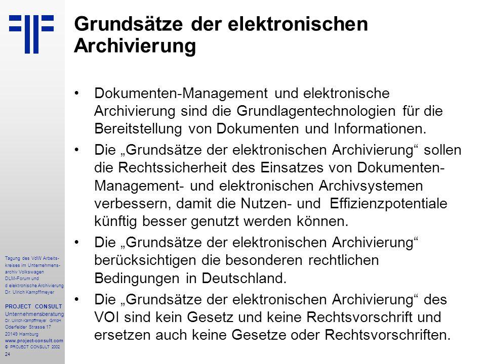 24 Tagung des VdW Arbeits- kreises im Unternehmens- archiv Volkswagen DLM-Forum und d elektronische Archivierung Dr.
