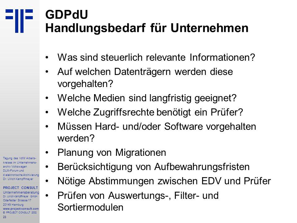 28 Tagung des VdW Arbeits- kreises im Unternehmens- archiv Volkswagen DLM-Forum und d elektronische Archivierung Dr.