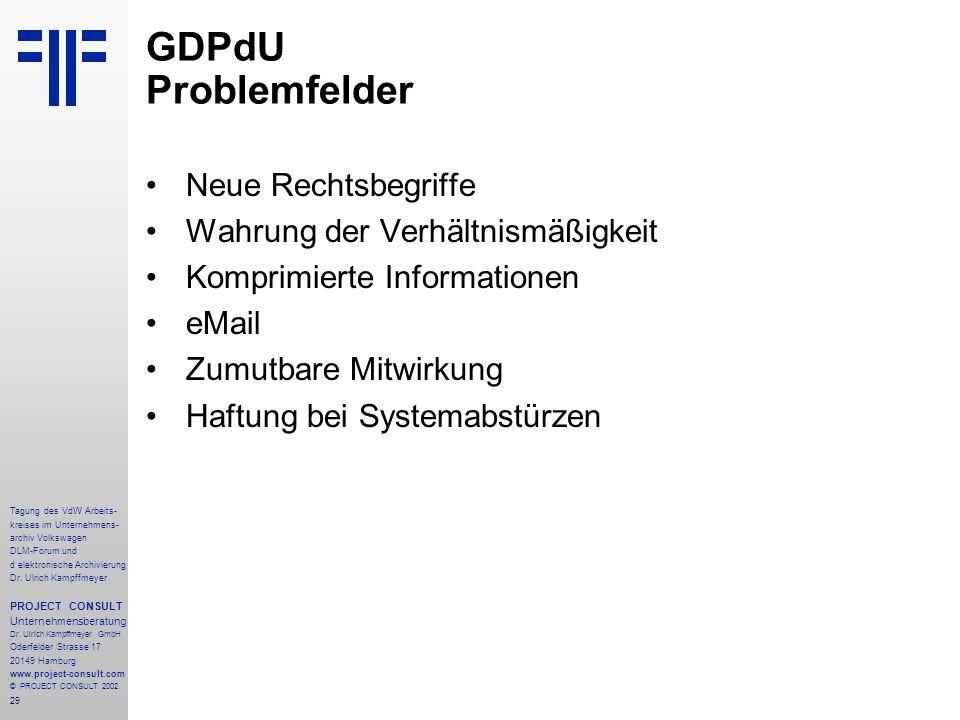 29 Tagung des VdW Arbeits- kreises im Unternehmens- archiv Volkswagen DLM-Forum und d elektronische Archivierung Dr.