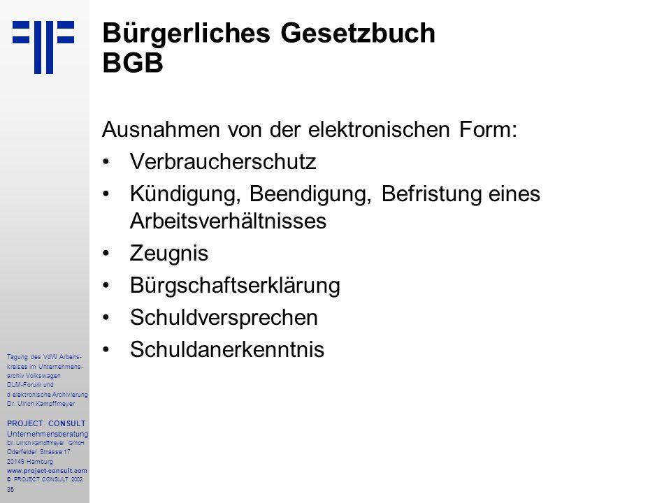 35 Tagung des VdW Arbeits- kreises im Unternehmens- archiv Volkswagen DLM-Forum und d elektronische Archivierung Dr.