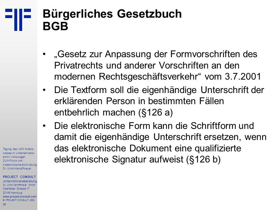 36 Tagung des VdW Arbeits- kreises im Unternehmens- archiv Volkswagen DLM-Forum und d elektronische Archivierung Dr.