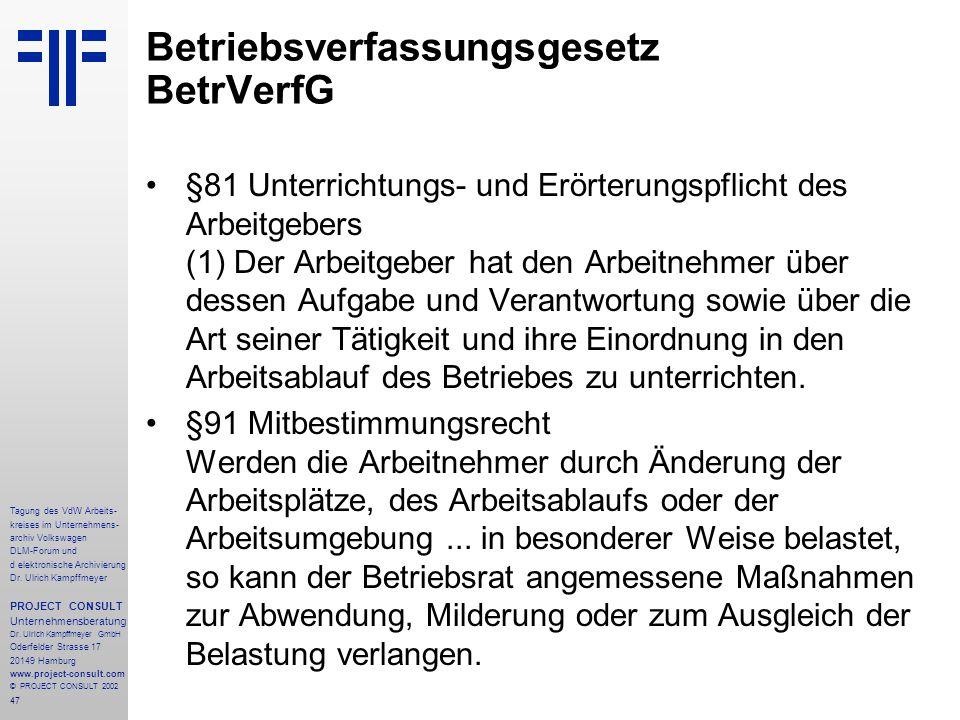 47 Tagung des VdW Arbeits- kreises im Unternehmens- archiv Volkswagen DLM-Forum und d elektronische Archivierung Dr.