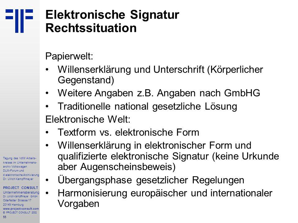 55 Tagung des VdW Arbeits- kreises im Unternehmens- archiv Volkswagen DLM-Forum und d elektronische Archivierung Dr.