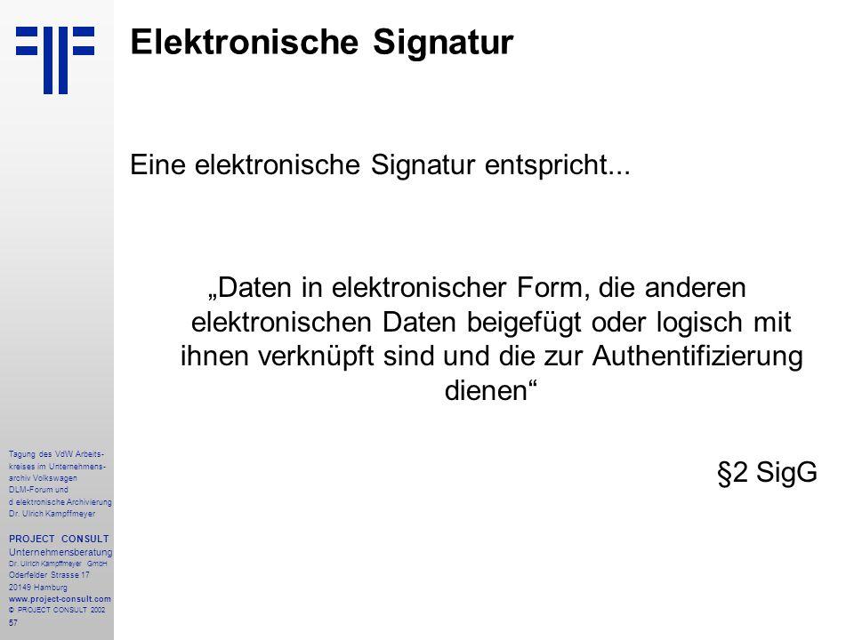 57 Tagung des VdW Arbeits- kreises im Unternehmens- archiv Volkswagen DLM-Forum und d elektronische Archivierung Dr.