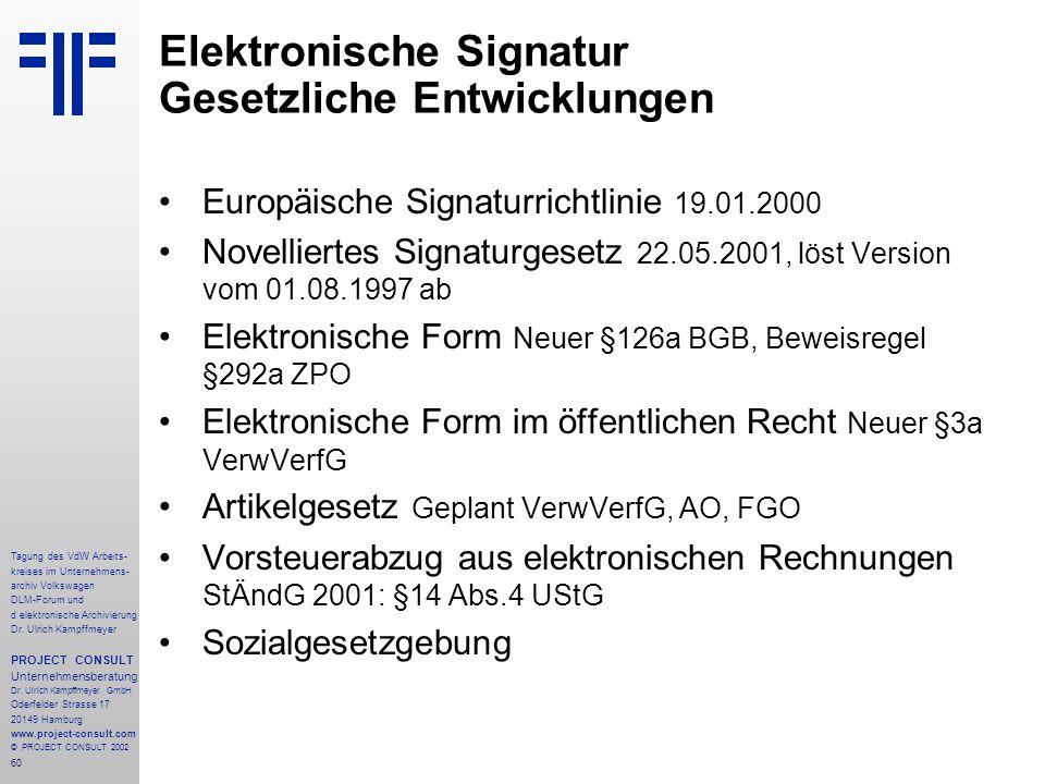 60 Tagung des VdW Arbeits- kreises im Unternehmens- archiv Volkswagen DLM-Forum und d elektronische Archivierung Dr.