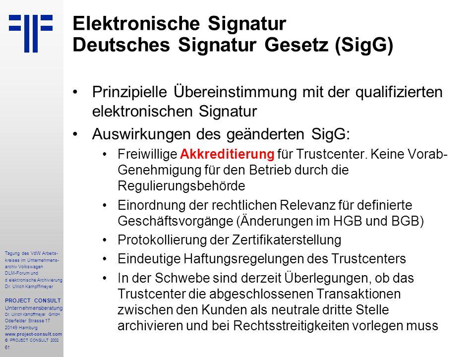 61 Tagung des VdW Arbeits- kreises im Unternehmens- archiv Volkswagen DLM-Forum und d elektronische Archivierung Dr.