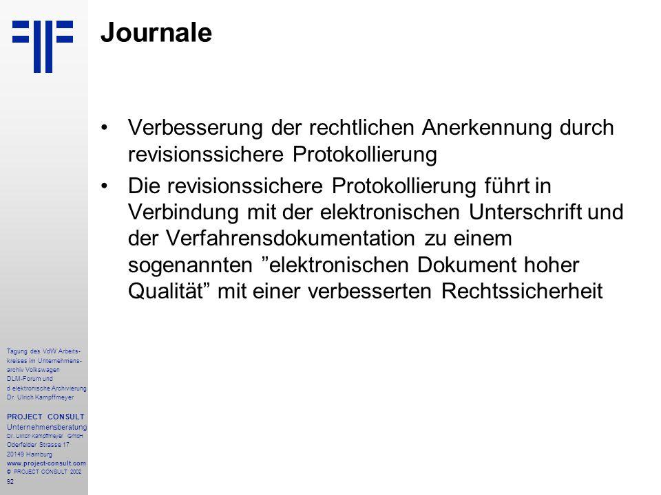 92 Tagung des VdW Arbeits- kreises im Unternehmens- archiv Volkswagen DLM-Forum und d elektronische Archivierung Dr.
