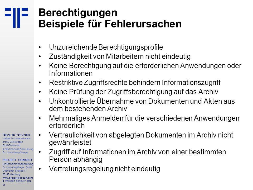 96 Tagung des VdW Arbeits- kreises im Unternehmens- archiv Volkswagen DLM-Forum und d elektronische Archivierung Dr.