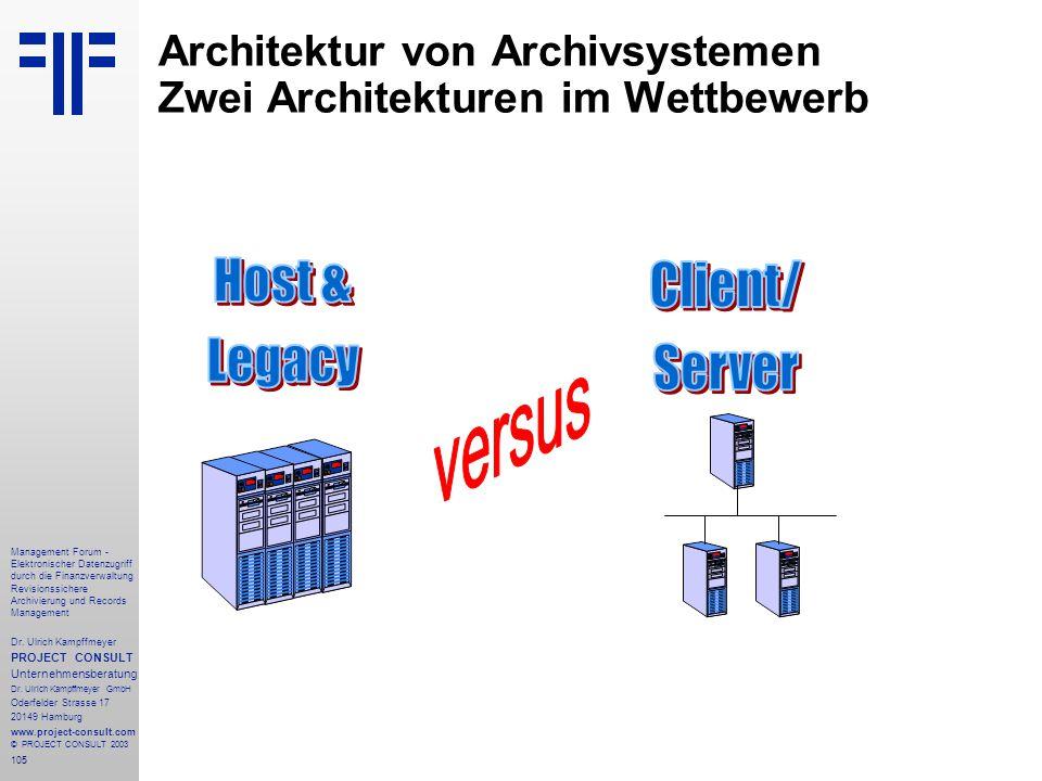 105 Management Forum - Elektronischer Datenzugriff durch die Finanzverwaltung Revisionssichere Archivierung und Records Management Dr. Ulrich Kampffme