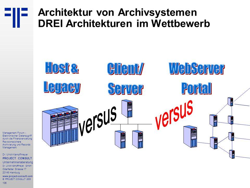 106 Management Forum - Elektronischer Datenzugriff durch die Finanzverwaltung Revisionssichere Archivierung und Records Management Dr. Ulrich Kampffme