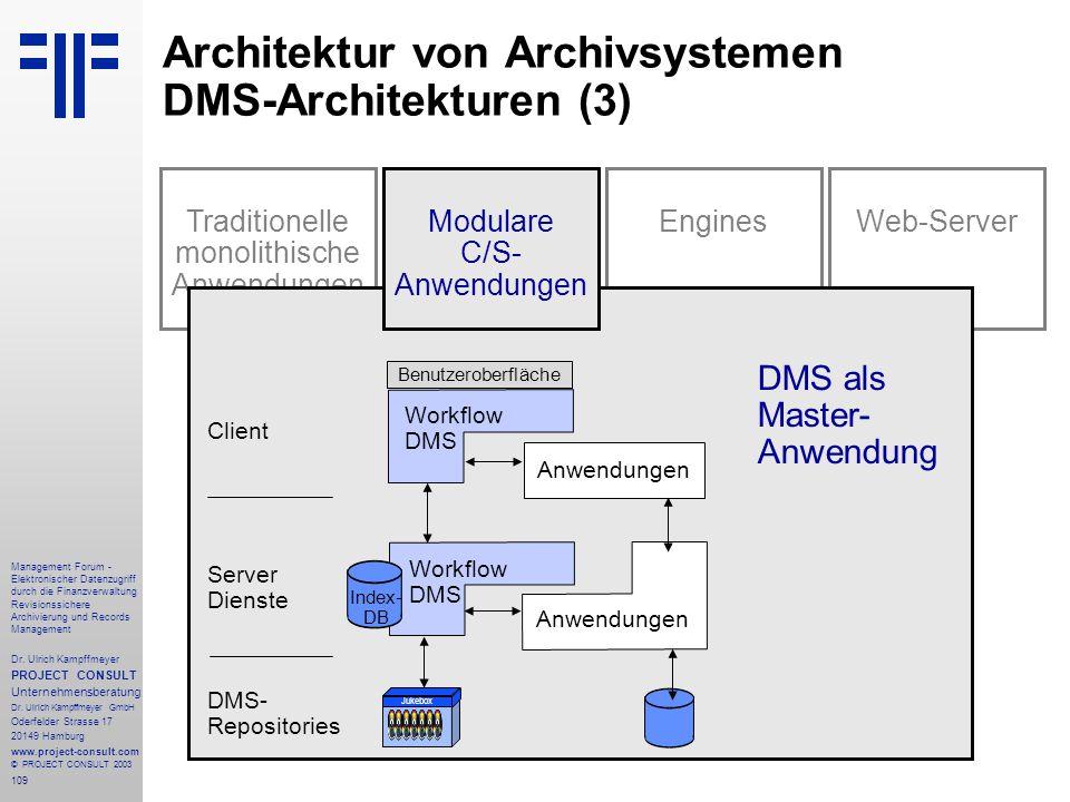 109 Management Forum - Elektronischer Datenzugriff durch die Finanzverwaltung Revisionssichere Archivierung und Records Management Dr. Ulrich Kampffme