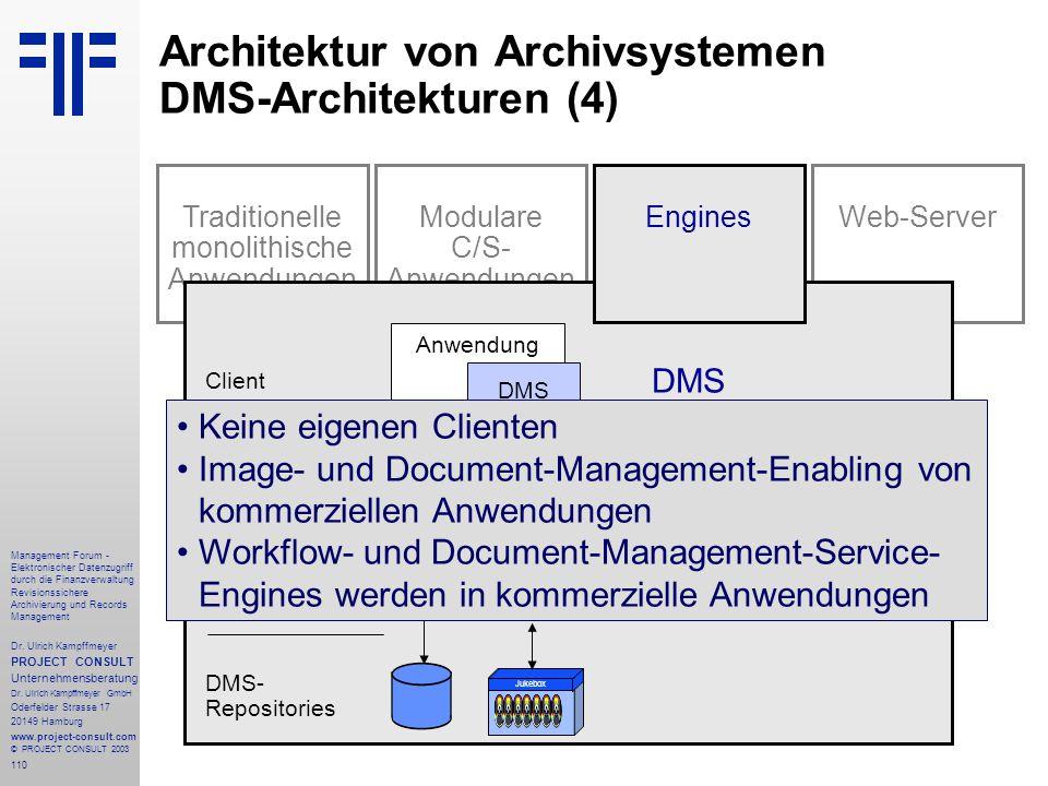 110 Management Forum - Elektronischer Datenzugriff durch die Finanzverwaltung Revisionssichere Archivierung und Records Management Dr. Ulrich Kampffme