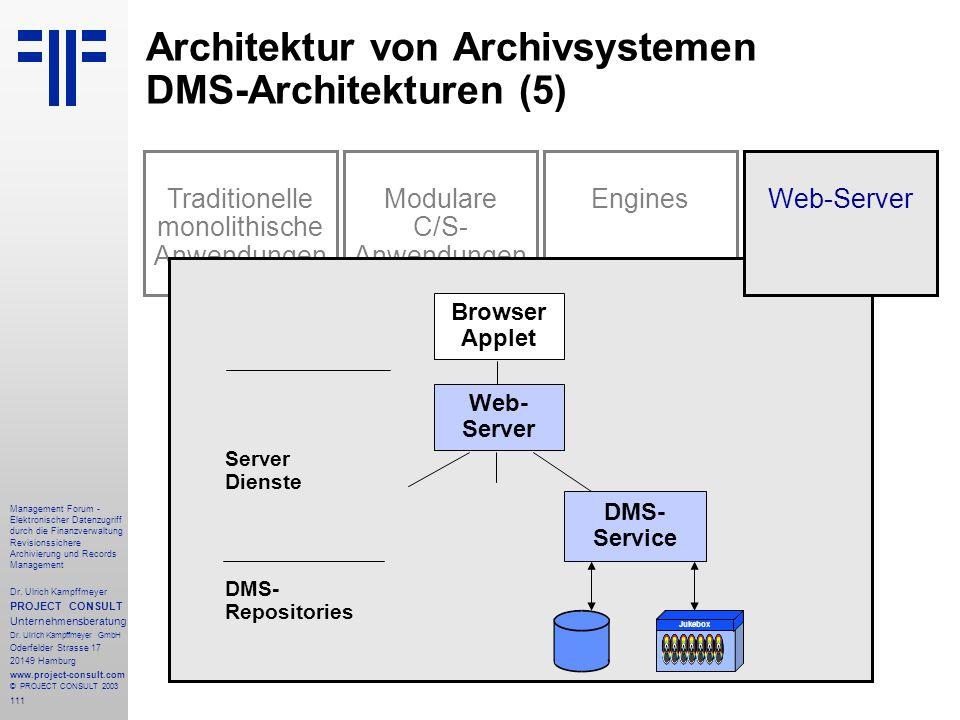 111 Management Forum - Elektronischer Datenzugriff durch die Finanzverwaltung Revisionssichere Archivierung und Records Management Dr. Ulrich Kampffme