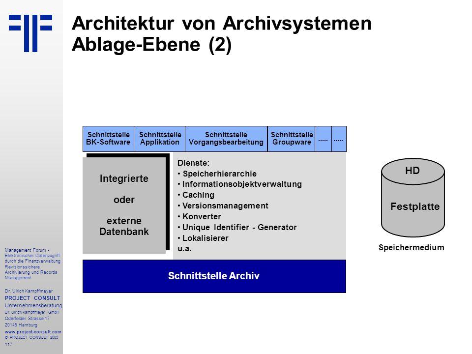 117 Management Forum - Elektronischer Datenzugriff durch die Finanzverwaltung Revisionssichere Archivierung und Records Management Dr. Ulrich Kampffme