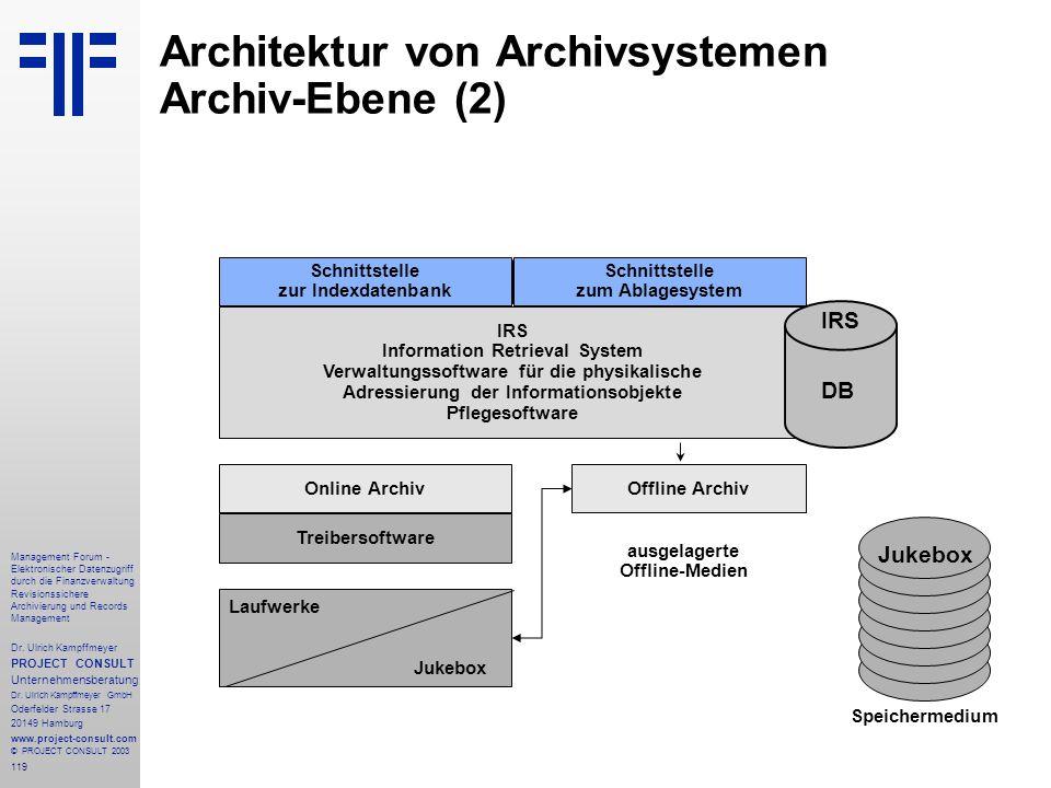 119 Management Forum - Elektronischer Datenzugriff durch die Finanzverwaltung Revisionssichere Archivierung und Records Management Dr. Ulrich Kampffme