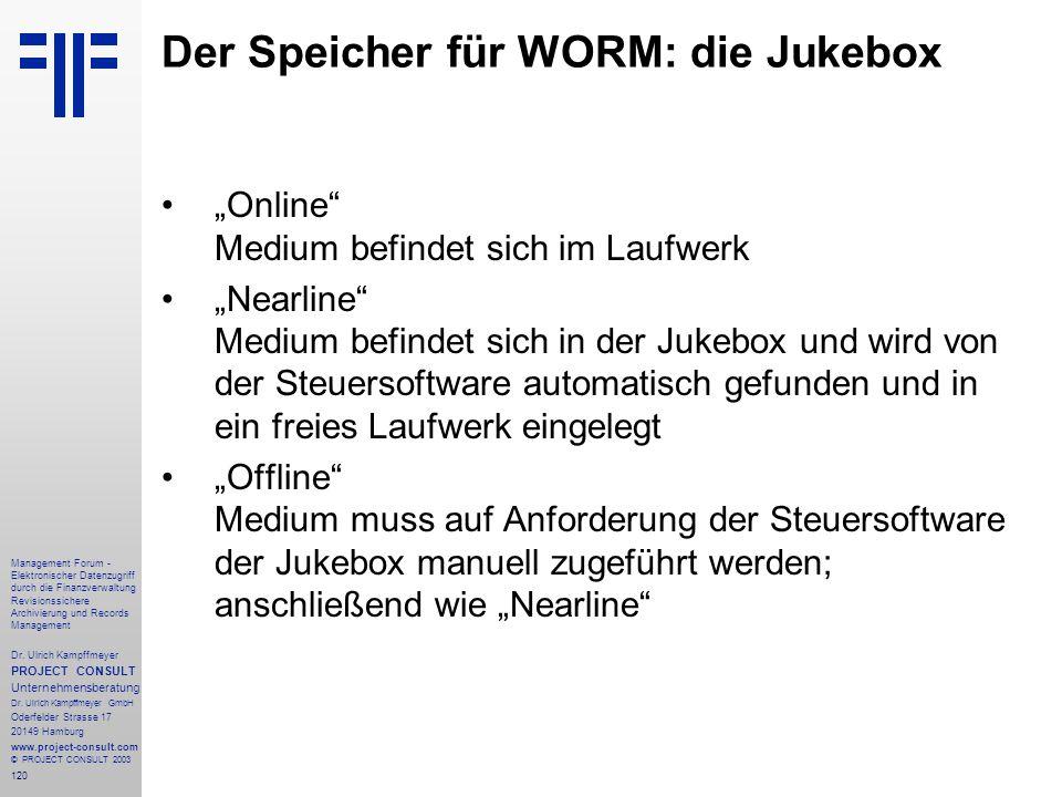 120 Management Forum - Elektronischer Datenzugriff durch die Finanzverwaltung Revisionssichere Archivierung und Records Management Dr. Ulrich Kampffme