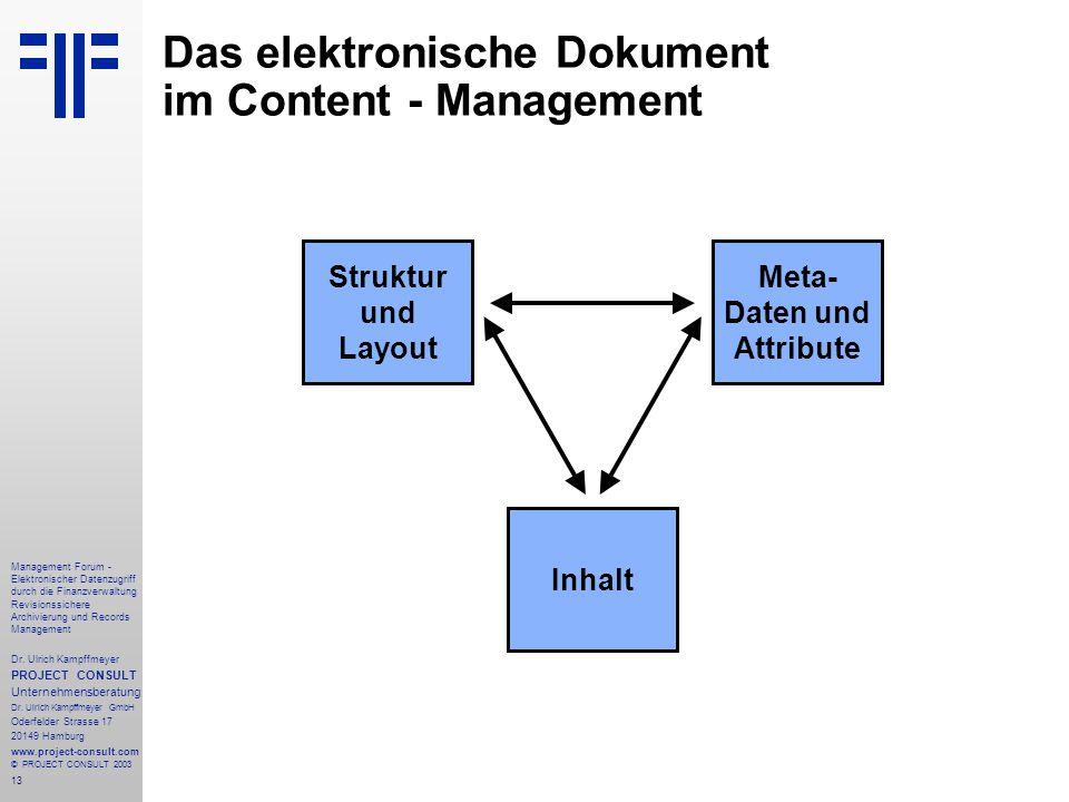 13 Management Forum - Elektronischer Datenzugriff durch die Finanzverwaltung Revisionssichere Archivierung und Records Management Dr. Ulrich Kampffmey