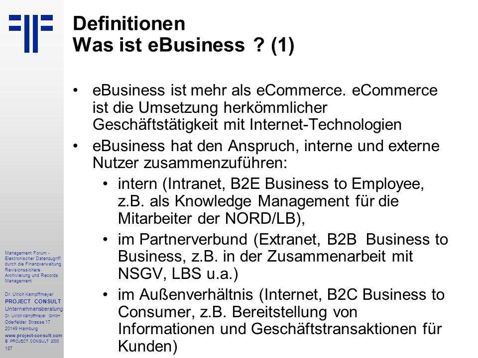 137 Management Forum - Elektronischer Datenzugriff durch die Finanzverwaltung Revisionssichere Archivierung und Records Management Dr. Ulrich Kampffme