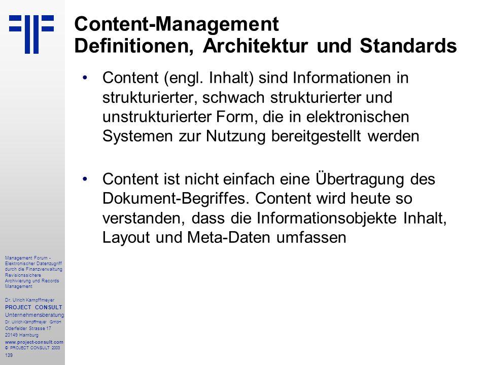 139 Management Forum - Elektronischer Datenzugriff durch die Finanzverwaltung Revisionssichere Archivierung und Records Management Dr. Ulrich Kampffme