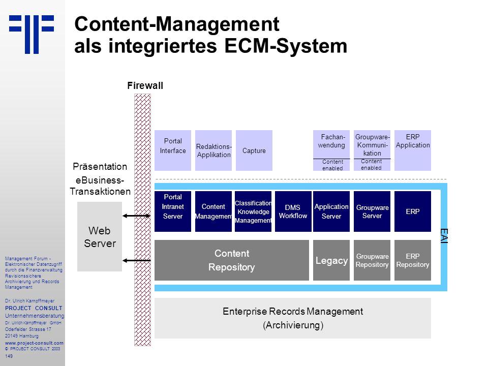 149 Management Forum - Elektronischer Datenzugriff durch die Finanzverwaltung Revisionssichere Archivierung und Records Management Dr. Ulrich Kampffme