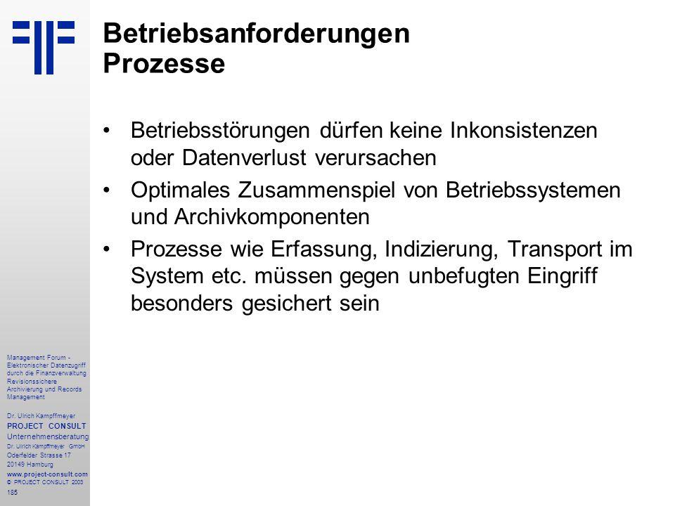 185 Management Forum - Elektronischer Datenzugriff durch die Finanzverwaltung Revisionssichere Archivierung und Records Management Dr. Ulrich Kampffme