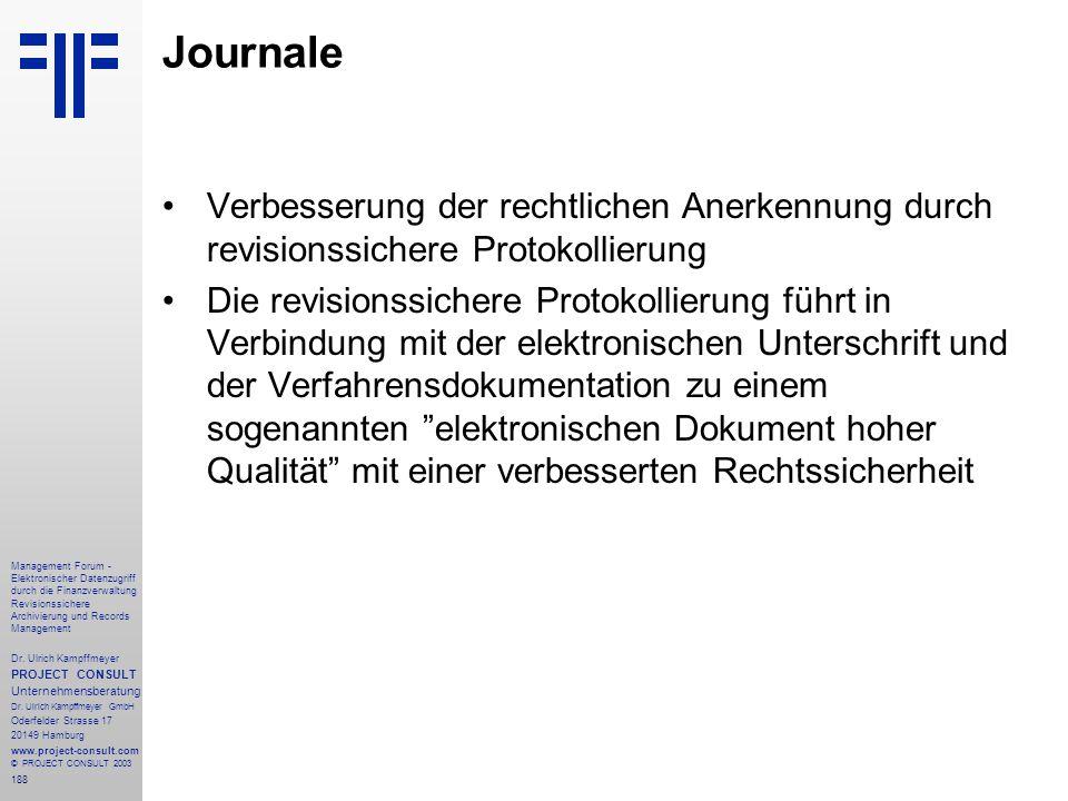 188 Management Forum - Elektronischer Datenzugriff durch die Finanzverwaltung Revisionssichere Archivierung und Records Management Dr. Ulrich Kampffme