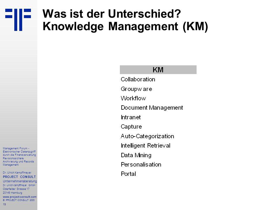 19 Management Forum - Elektronischer Datenzugriff durch die Finanzverwaltung Revisionssichere Archivierung und Records Management Dr. Ulrich Kampffmey