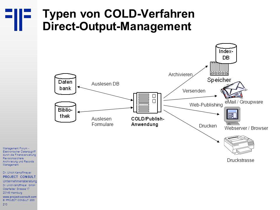 210 Management Forum - Elektronischer Datenzugriff durch die Finanzverwaltung Revisionssichere Archivierung und Records Management Dr. Ulrich Kampffme