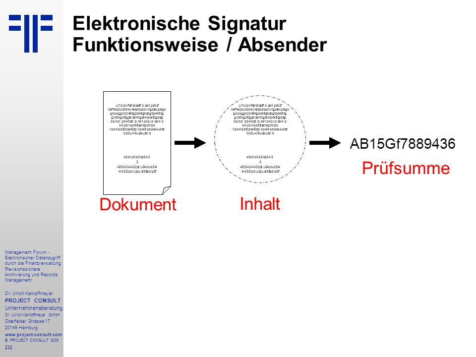 232 Management Forum - Elektronischer Datenzugriff durch die Finanzverwaltung Revisionssichere Archivierung und Records Management Dr. Ulrich Kampffme