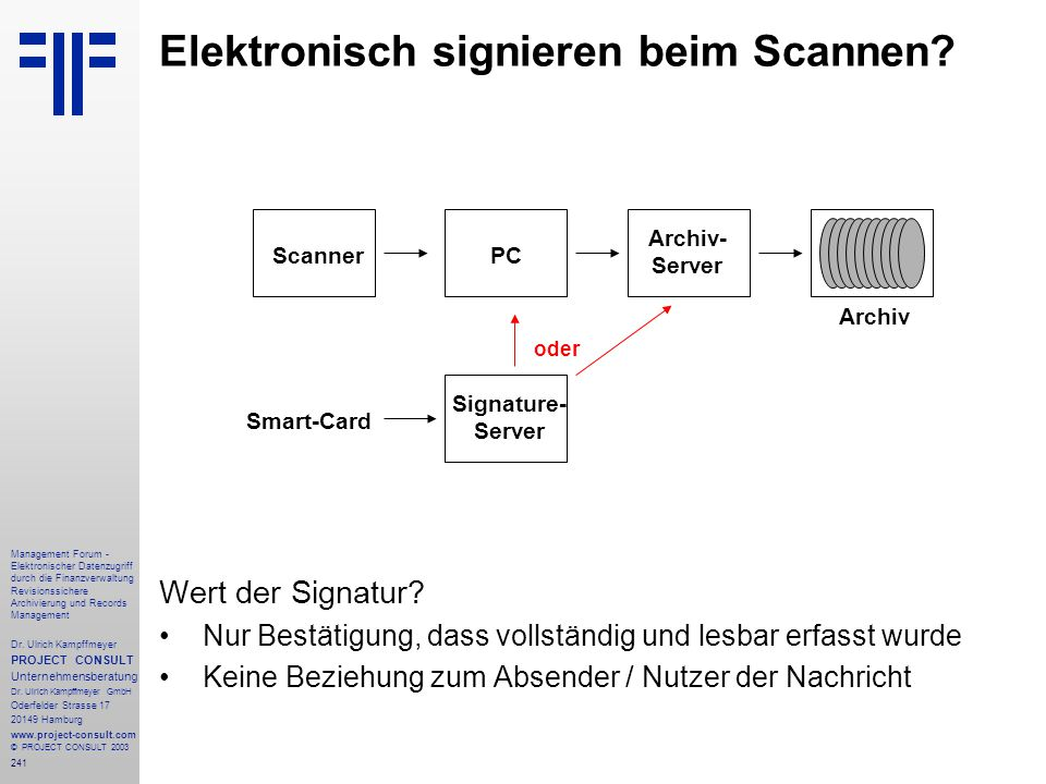 241 Management Forum - Elektronischer Datenzugriff durch die Finanzverwaltung Revisionssichere Archivierung und Records Management Dr. Ulrich Kampffme