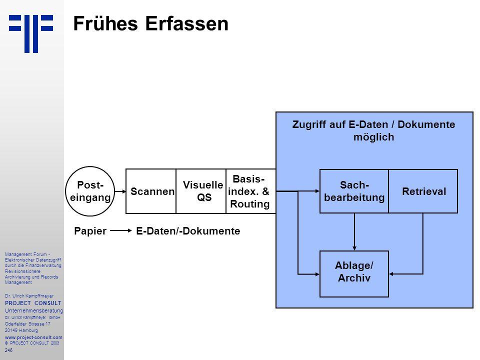 246 Management Forum - Elektronischer Datenzugriff durch die Finanzverwaltung Revisionssichere Archivierung und Records Management Dr. Ulrich Kampffme