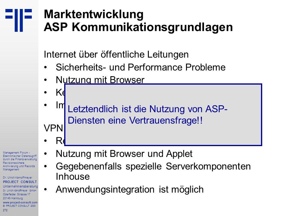 272 Management Forum - Elektronischer Datenzugriff durch die Finanzverwaltung Revisionssichere Archivierung und Records Management Dr. Ulrich Kampffme