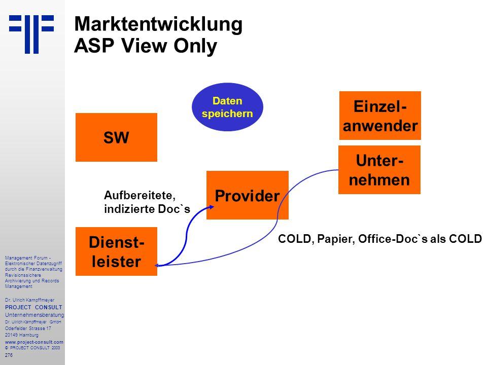 276 Management Forum - Elektronischer Datenzugriff durch die Finanzverwaltung Revisionssichere Archivierung und Records Management Dr. Ulrich Kampffme