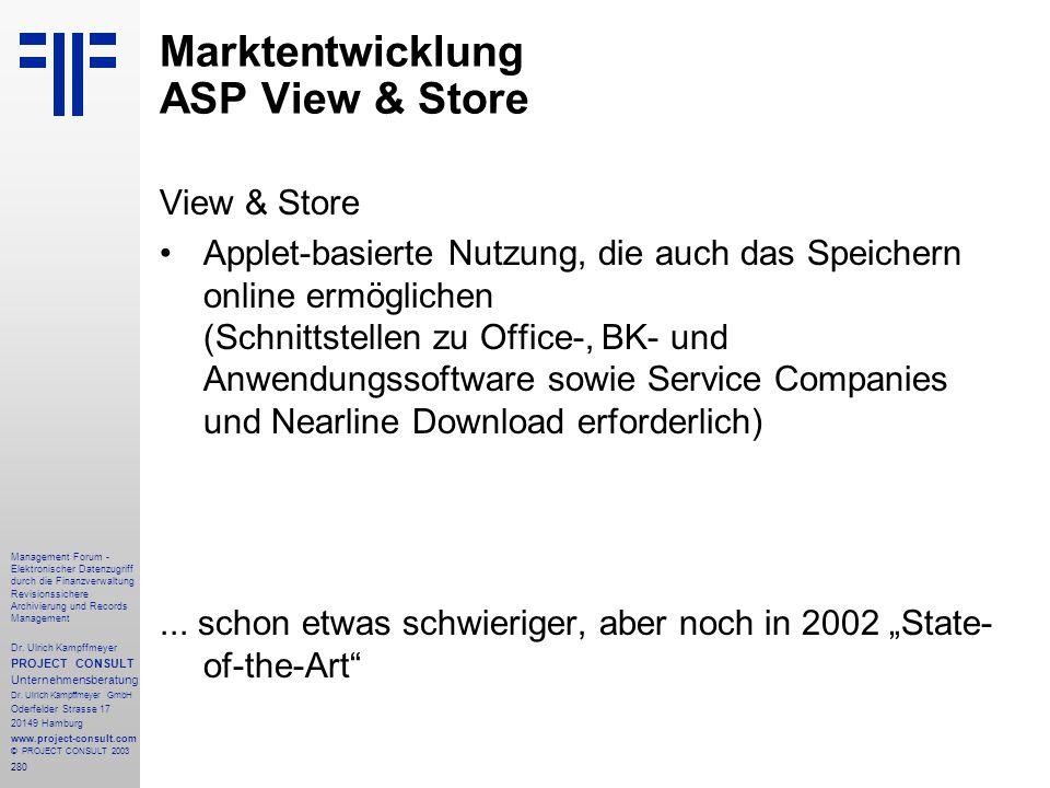 280 Management Forum - Elektronischer Datenzugriff durch die Finanzverwaltung Revisionssichere Archivierung und Records Management Dr. Ulrich Kampffme