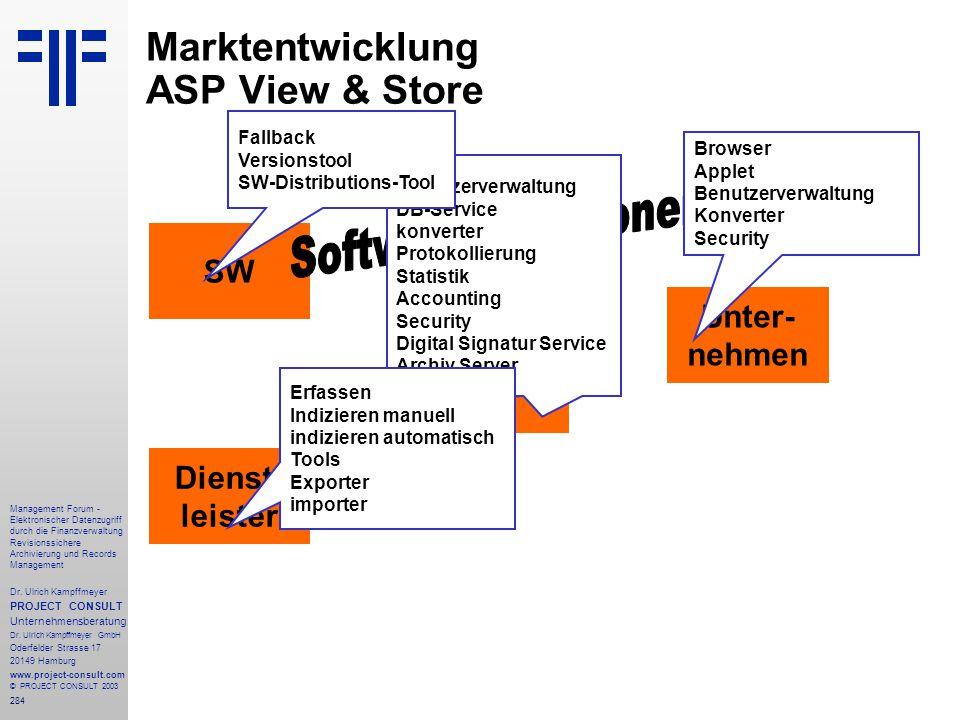 284 Management Forum - Elektronischer Datenzugriff durch die Finanzverwaltung Revisionssichere Archivierung und Records Management Dr. Ulrich Kampffme