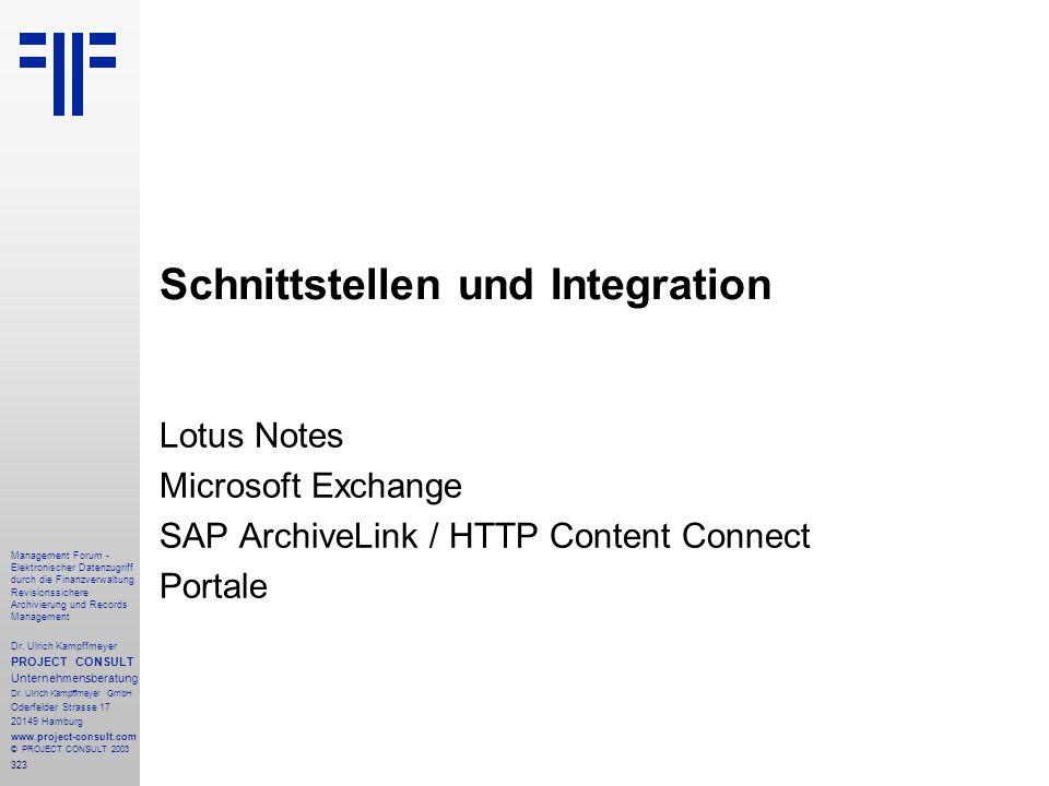 323 Management Forum - Elektronischer Datenzugriff durch die Finanzverwaltung Revisionssichere Archivierung und Records Management Dr. Ulrich Kampffme